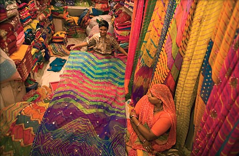 Photo: Udaipur sari shop